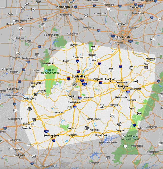 Logan's Uniform Rental Services territory map