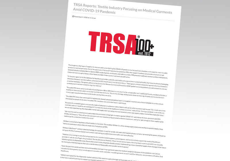TRSA Reports: Textile Industry Focusing on Medical Garments Amid COVID-19 Pandemic